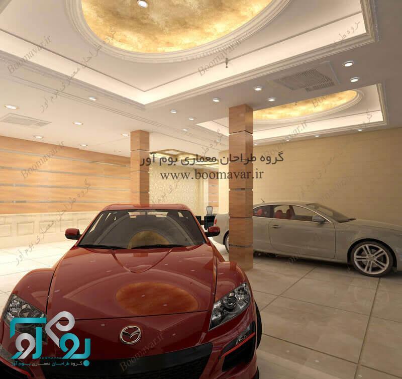 طراحی داخلی نمایشگاه اتومبیل لاکچری