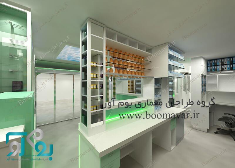 دکوراسیون داروخانه و طراحی ویترین داروخانه و قفسه بندی داروها
