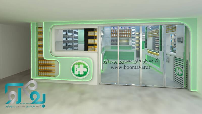 طراحی ویترین داروخانه و قفسه بندی داروخانه