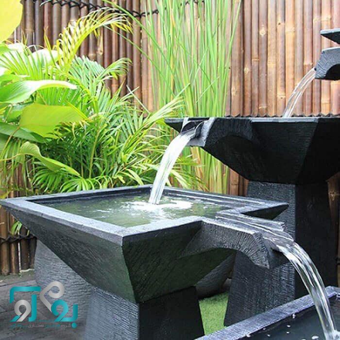 محوطه سازی حیاط ویلا با آب نما