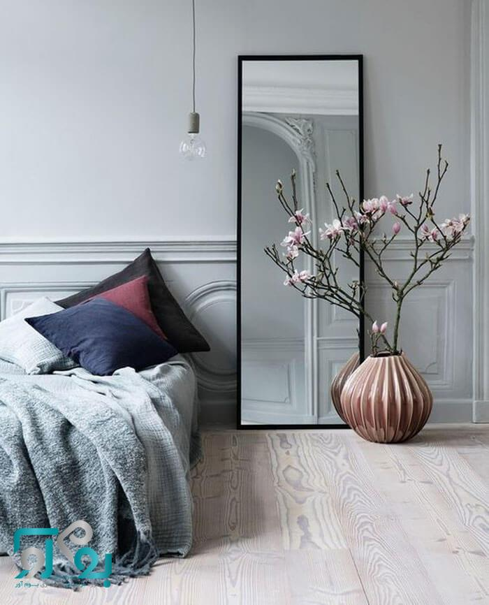 استفاده از آینه در اتاق خواب جهت بزرگ نمایی